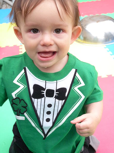 450px-Baby wearing green shirt with shamrock